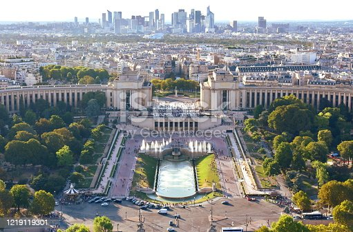 Paris, France. Elevated view of Trocadero, Bois de Boulogne and La Defense financial district with sunset light.