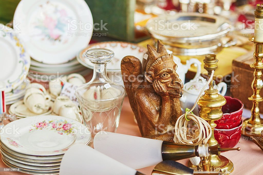 Parisian flea market stock photo