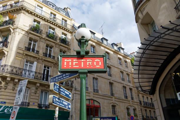 Parisian Metro sign stock photo
