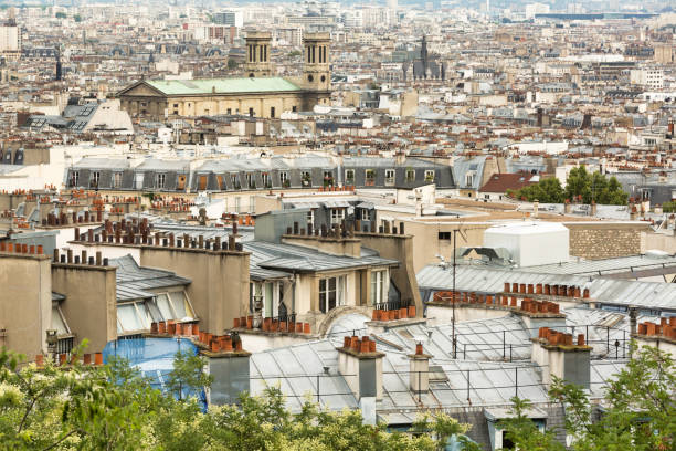 Parisian roofs seen from the Butte Montmarte in Paris stock photo