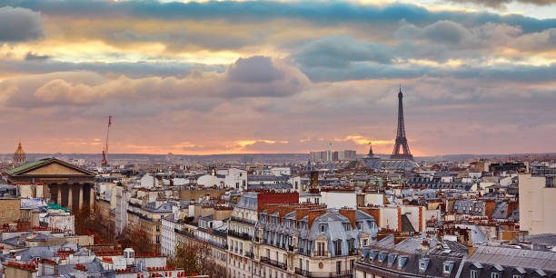 Parisian skyline with the Eiffel tower at sunset stock photo