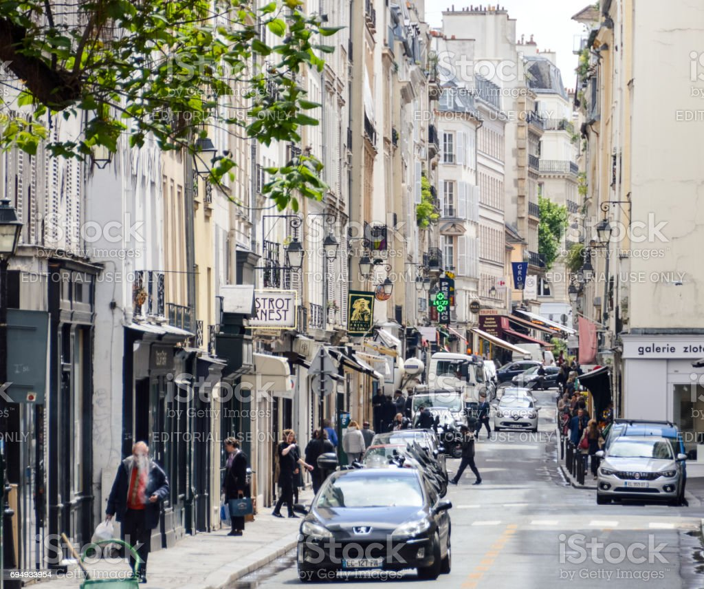 Parisian street scene and architecture stock photo