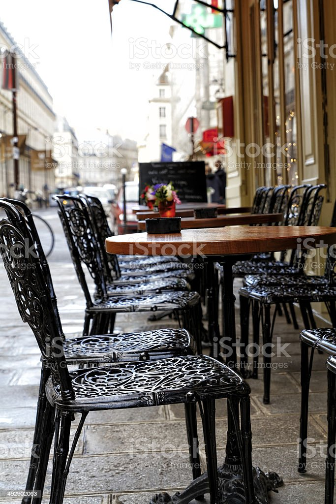 Parisian terrace Empty parisian terrace Bar - Drink Establishment Stock Photo