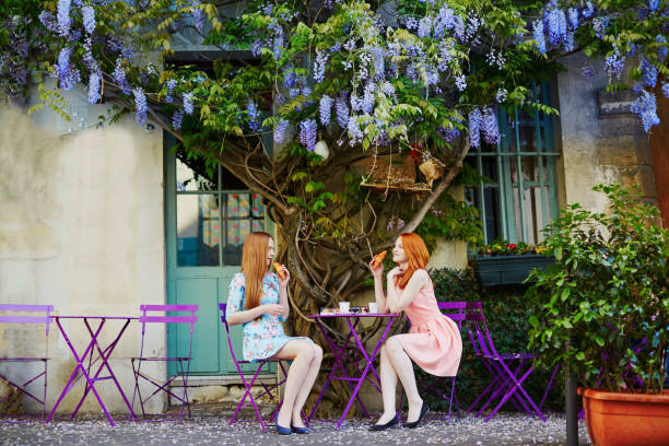 parisian women drinking coffee together in outdoor cafe with wisteria - パリのファッション ストックフォトと画像
