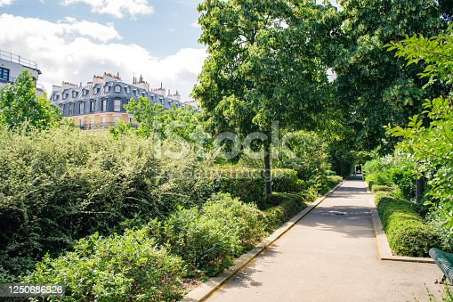 View of typical Paris apartment buildings seen from the Coulee Verte park in Spring