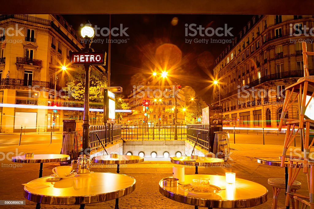 Parisienne cafe. Night shot stock photo