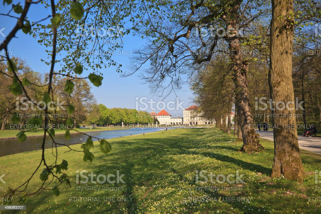 Park and back side of Nymphenburg Palace, Munich stock photo