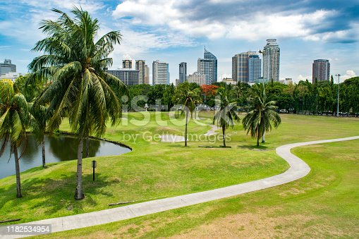 Skyline of Downtown Manila and City Park/ Golf Course - Manila, Philippines