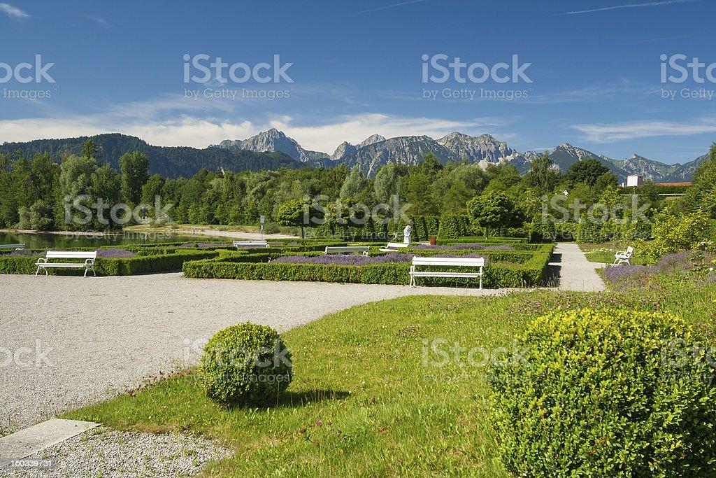 Park at lake Forggensee royalty-free stock photo