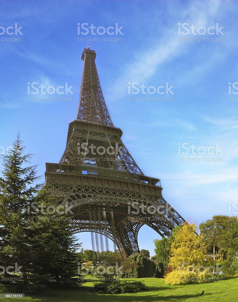 Park at the Eiffel Tower stock photo