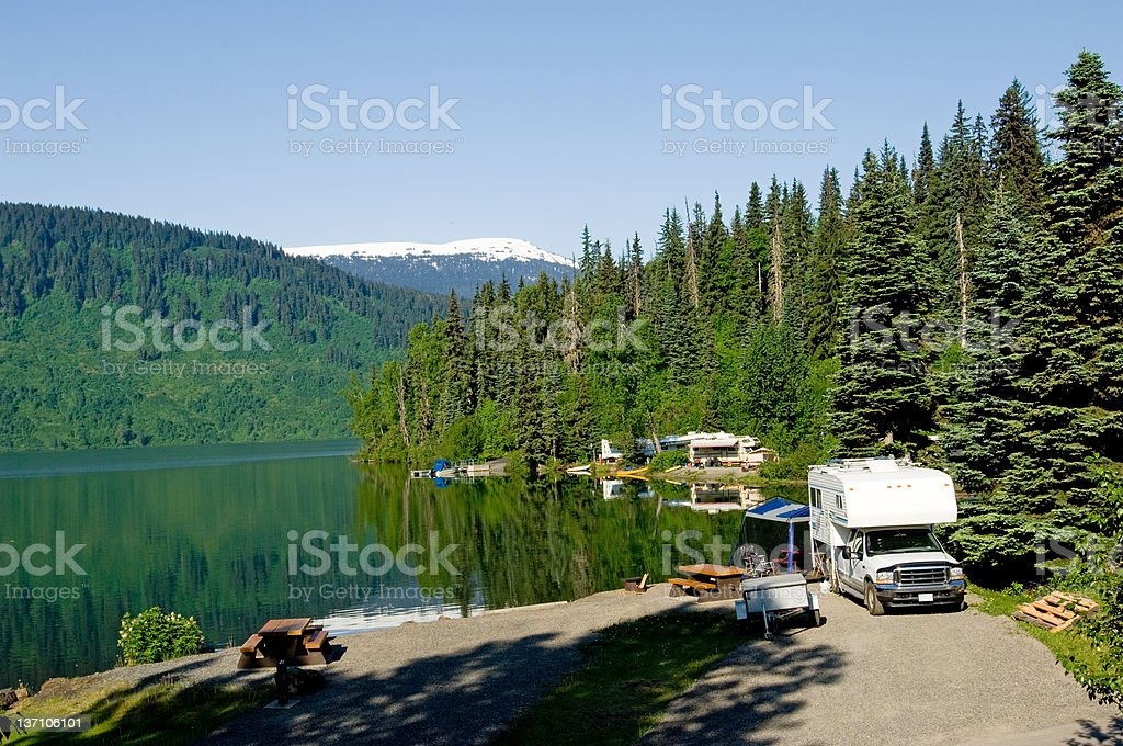 RV park at the lake stock photo