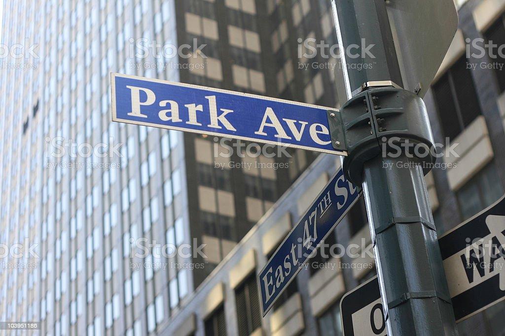 Park Avenue Street Sign - New York City stock photo