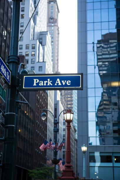 Park Avenue., street sign, New York, USA stock photo