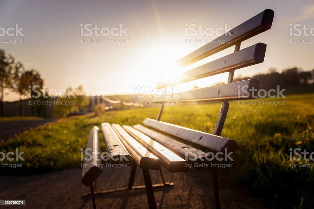Banc dans le parc au coucher du soleil - Photo