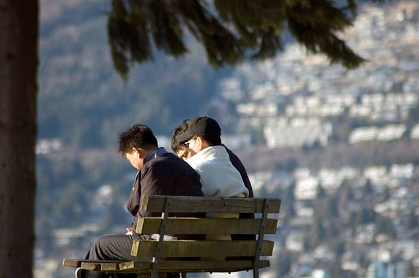 Park Bench Conversation stock photo