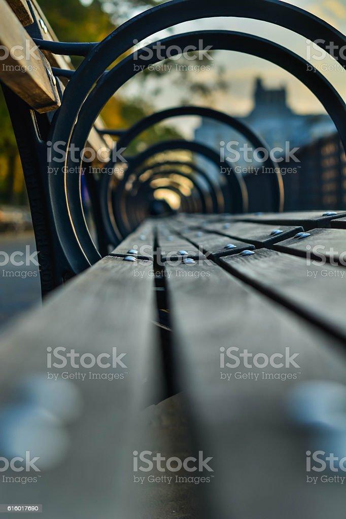 Park bench during dusk stock photo