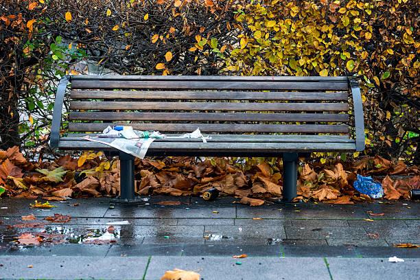 Parkbank im herbst – Foto