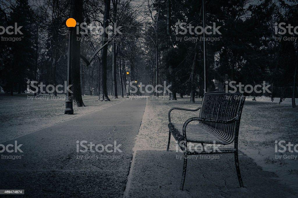 Park Bench in Winter II stock photo