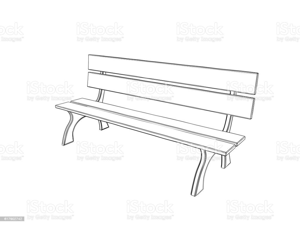 royalty free drawing of the sitting on a park bench