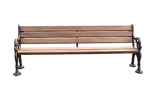 park bench isolated over white background with clipping path - bench bildbanksfoton och bilder