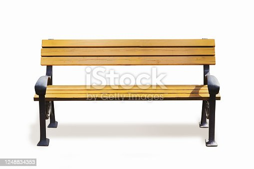 Park bench with clipping path.  photography.