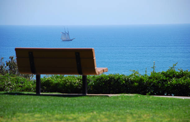Park bench with a great view of the ocean stock photo