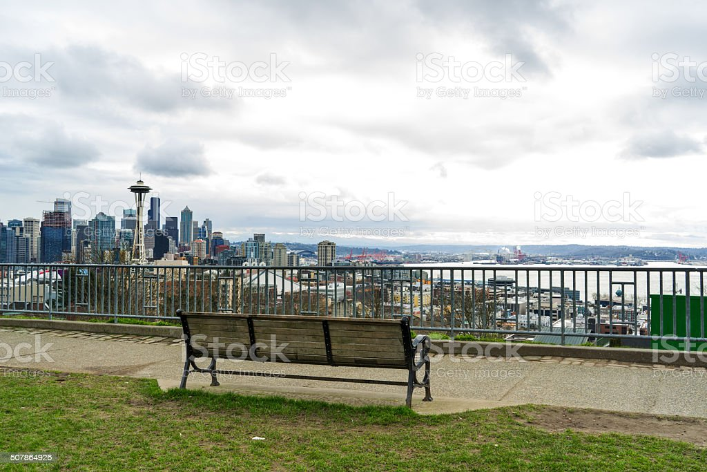 Park Bench with Seattle Skyline stock photo