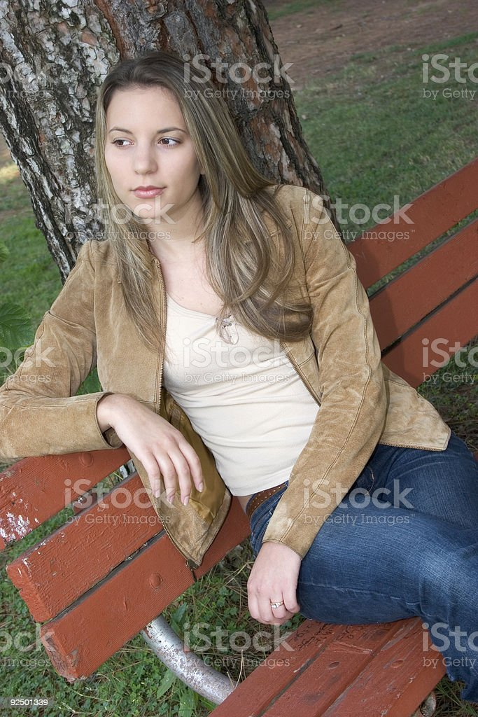 Park Bench Woman royalty-free stock photo
