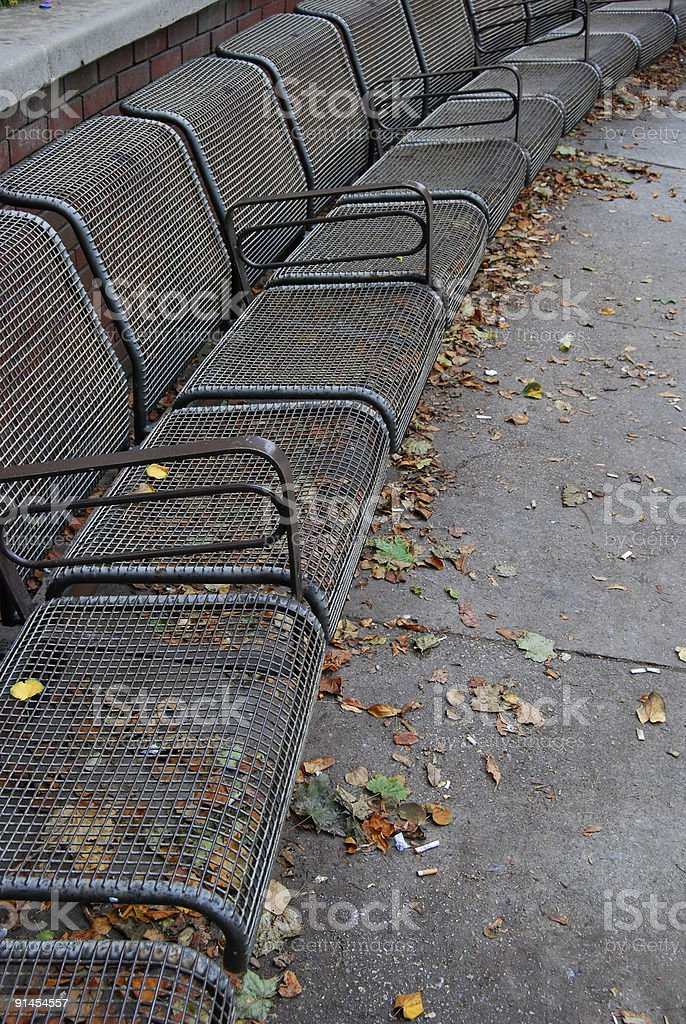 Park Benches in Autumn royalty-free stock photo