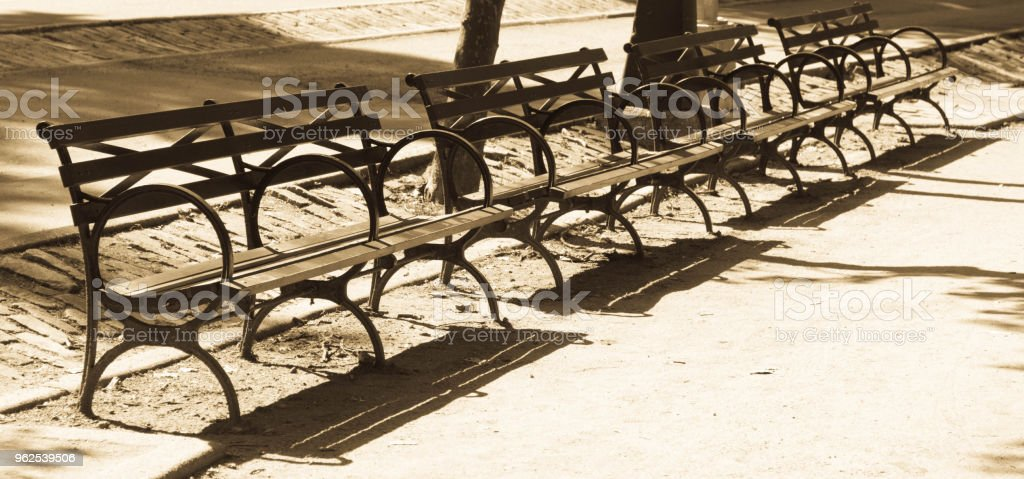 Park benches in Central Park - Royalty-free Beauty In Nature Stock Photo