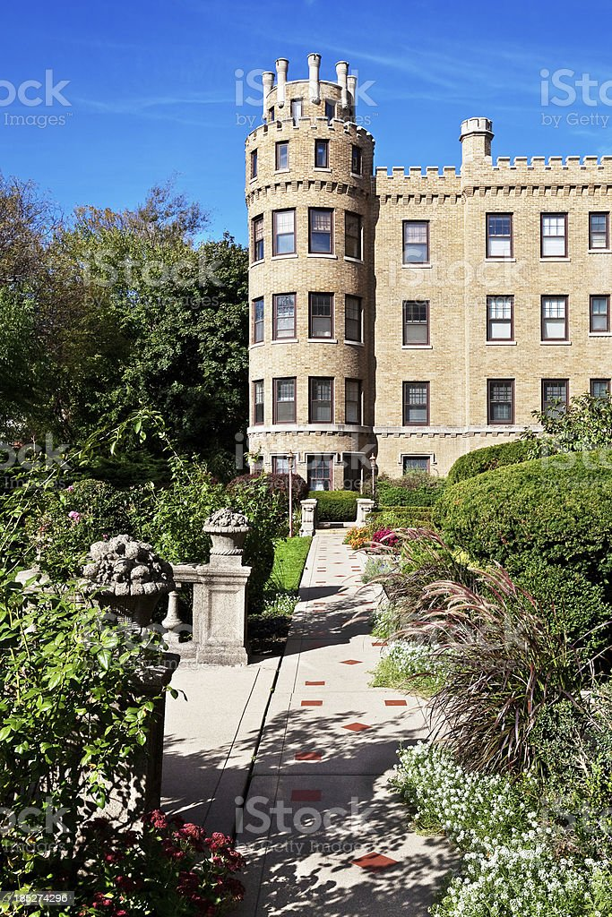 Park Castle, apartment building and garden, Chicago royalty-free stock photo
