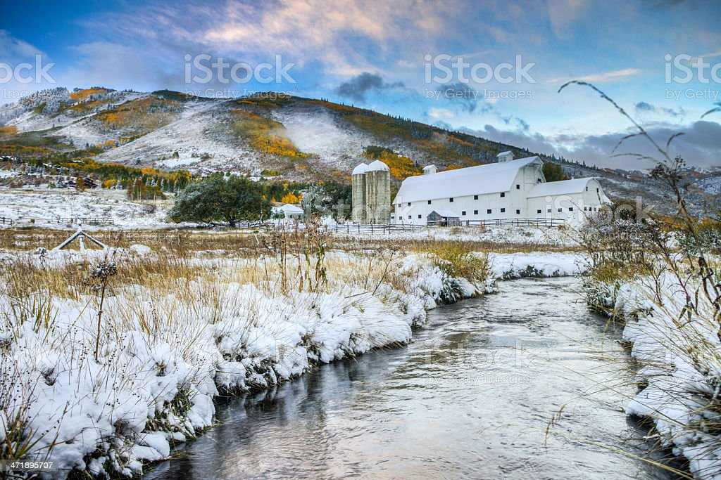 Park City Barn in the first snow stock photo