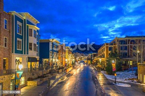 Park city in Utah before sunrise