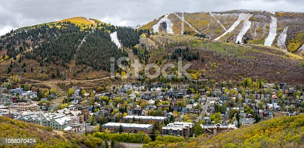 Overhead view of the village of Park City, Utah. A Late Fall snow storm covers the beautiful Autumn foliage.