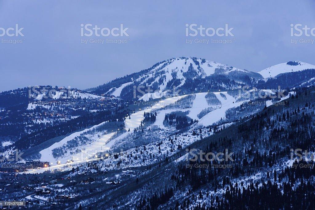 Park City Utah Ski Town Glowing at Dusk stock photo