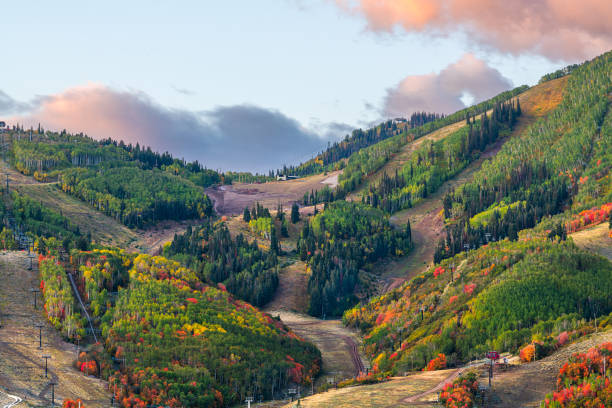 Park City, Utah, USA Autumn Slopes stock photo