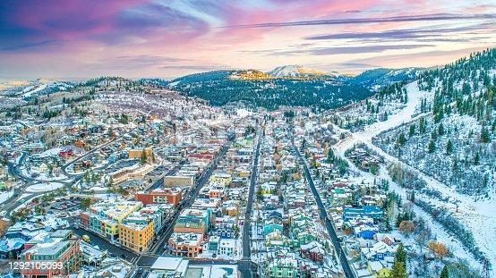 Park City, Utah, USA Downtown Skyline Aerial.