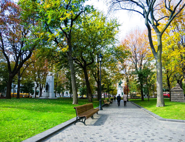 A park downtown of Montreal. stock photo
