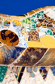Detail of the mosaics in Park Guell in Barcelona. One of the most famous places created by the architect Antoni Gaudi