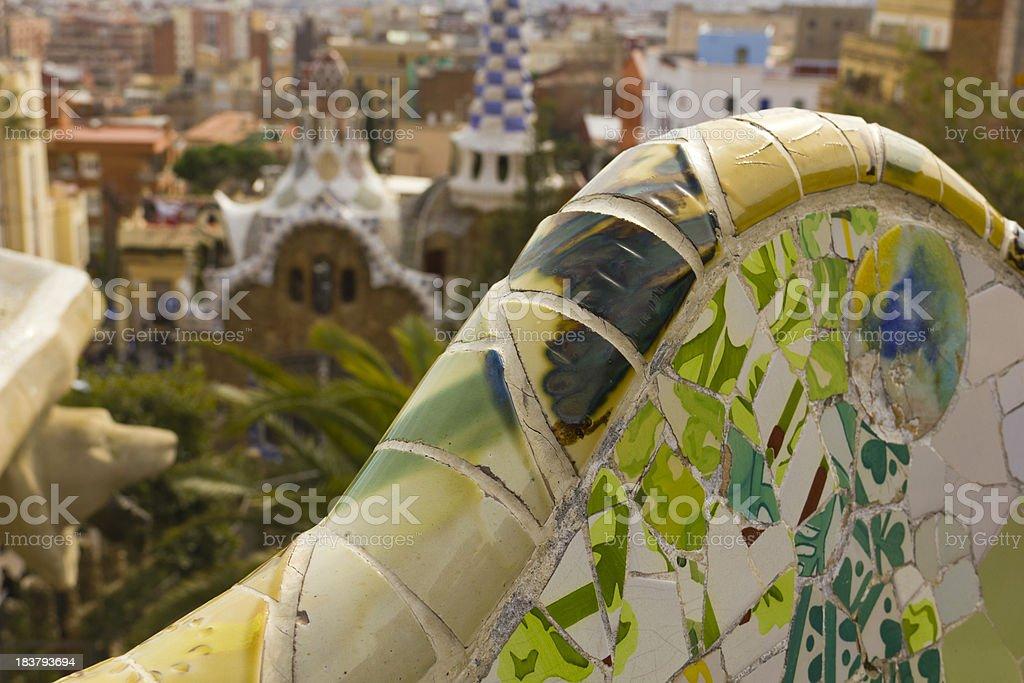 Park Güell. Mosaics royalty-free stock photo
