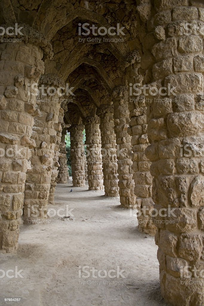 Park Guell Colums royalty-free stock photo