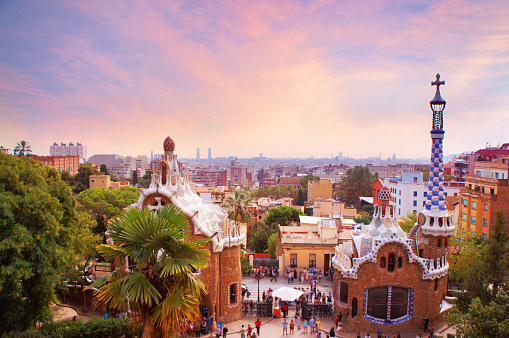 Park Guell in Barcelona at sunset