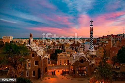 Park Guell with dramatic sky in Barcelona