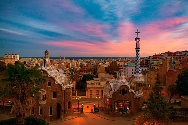 Park Guell in Barcelona Park Guell with dramatic sky in Barcelona barcelona spain stock pictures, royalty-free photos & images