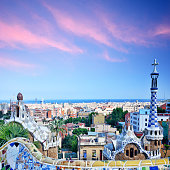 Park Guell was designed by the Antoni Gaudi and built in the years 1900 to 1914. Park is a UNESCO World Heritage site