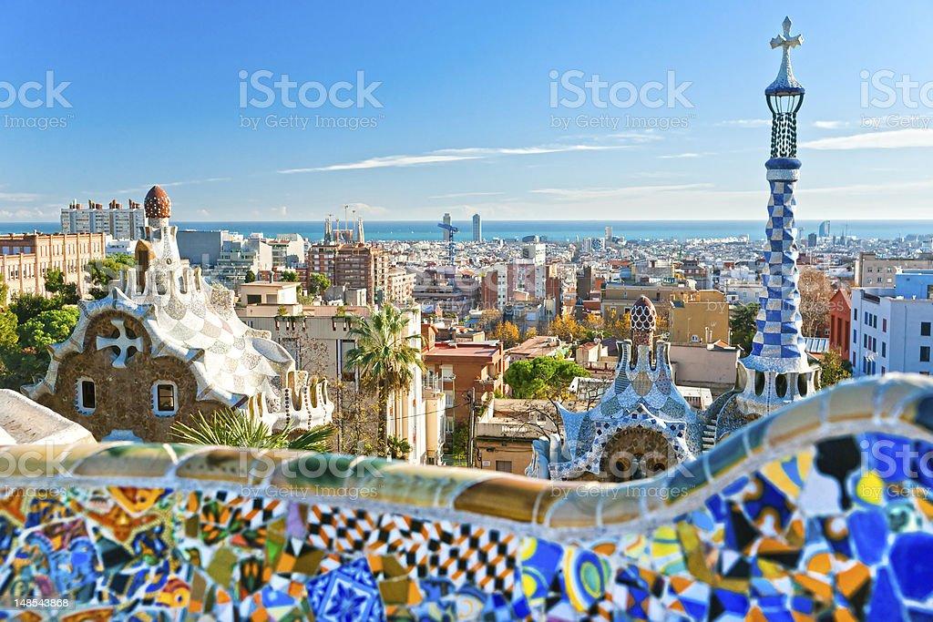 Parque güell en Barcelona, España. - foto de stock
