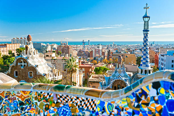 Park Guell in Barcelona, Spain. Park Guell in Barcelona, Spain. barcelona spain stock pictures, royalty-free photos & images