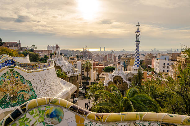 Park Guell in Barcelona, Spain. View of the city from Park Guell in Barcelona, Spain  passeig de gracia stock pictures, royalty-free photos & images