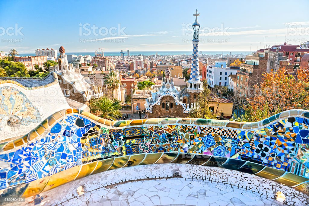 Park Guell in Barcelona, Spain. stock photo