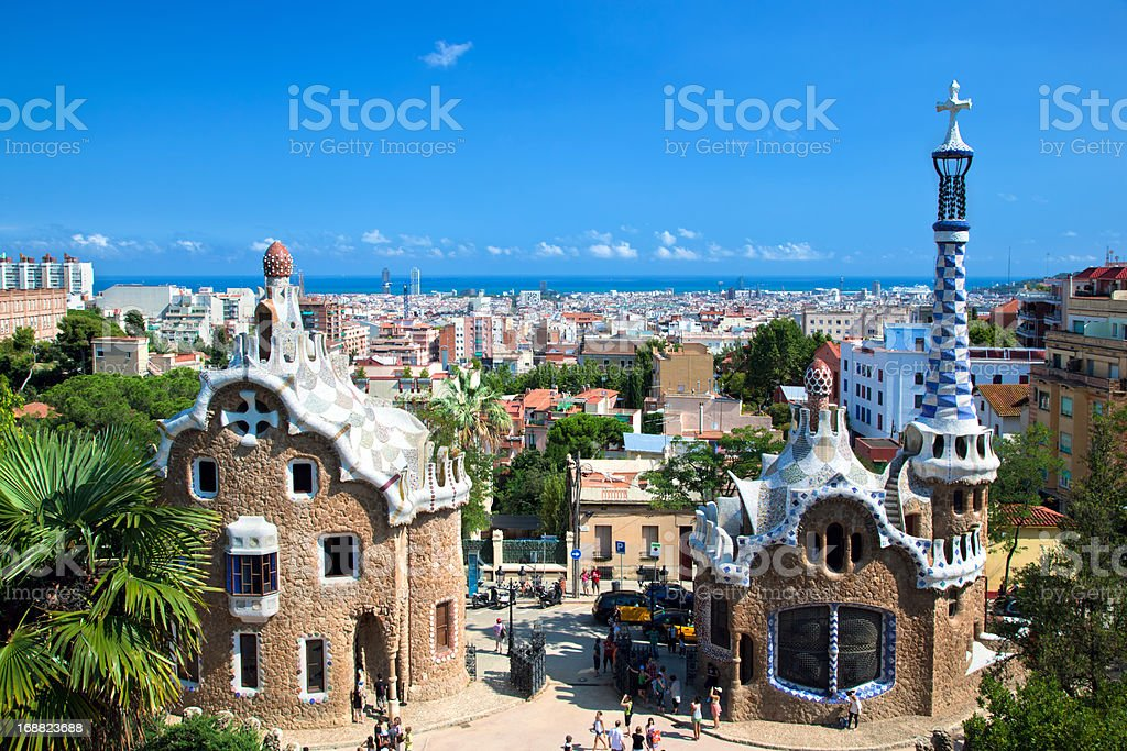 Park Guell, view on Barcelona, Spain royalty-free stock photo
